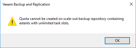 Cannot create quota on extents with unlimited task slots