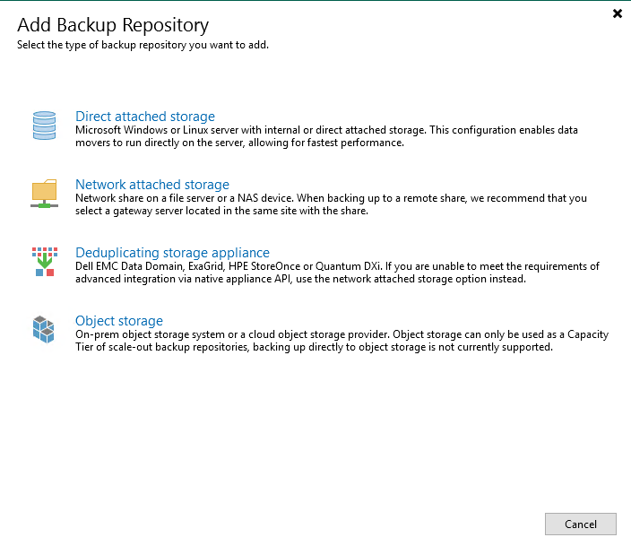 Veeam Backup & Replication supports different repository types