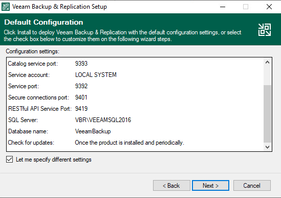 Specify different settings during Veeam Backup & Replication Setup