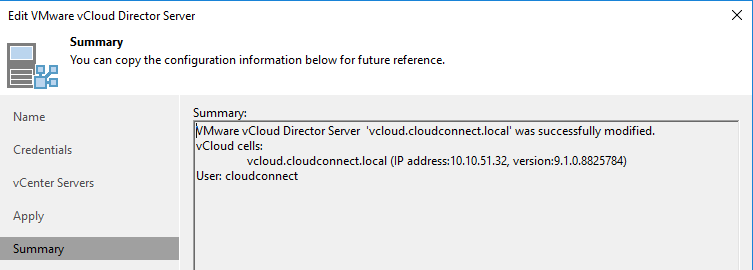 vCloud is added to Veeam Backup & Replication