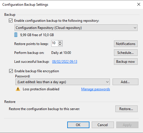 Configuration backup sent to Veeam Cloud Connect