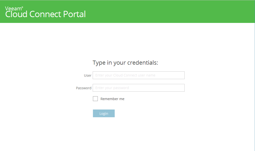 The login screen of the Veeam Cloud Connect Portal