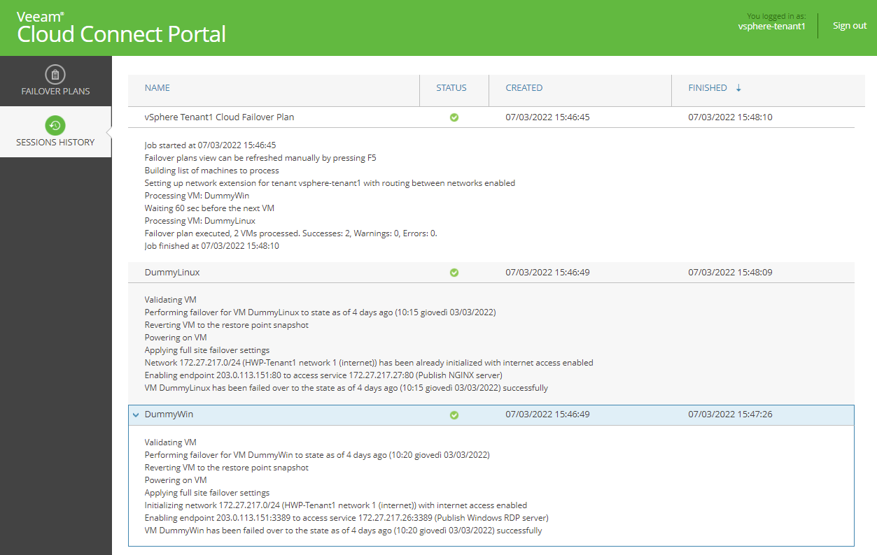 Cloud Failover Plan is executed successfully via Veeam Cloud Connect Portal