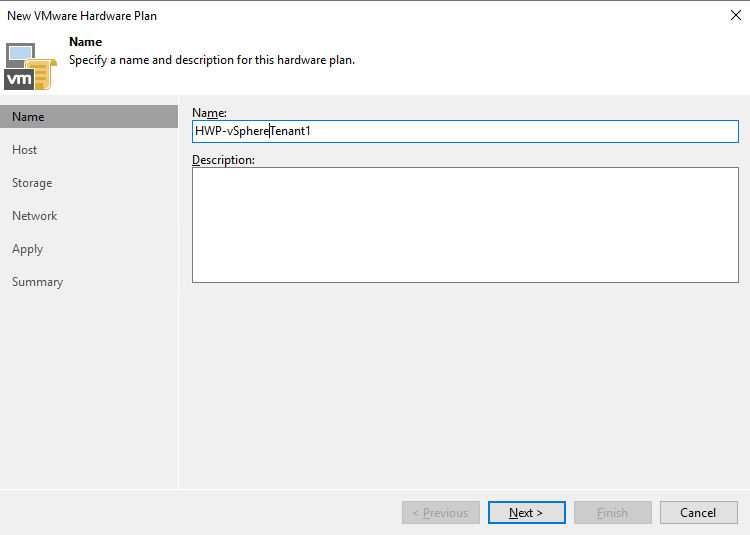 Create a new VMware hardware plan