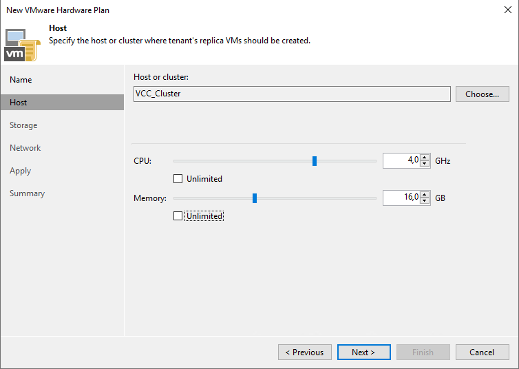 Specify cluster, CPU and Memory limits