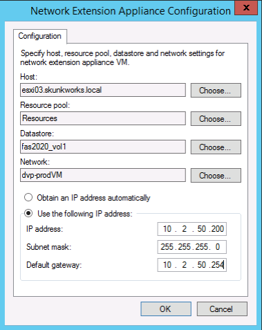 Configure networking for the tenant NEA