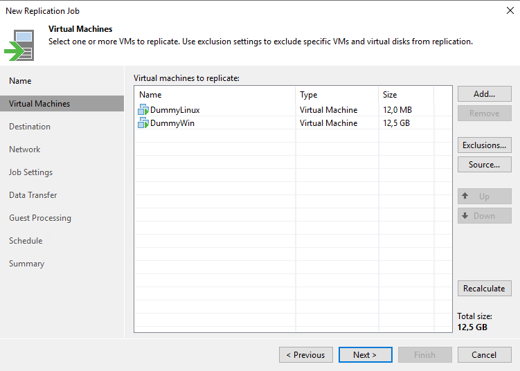 Select one or more VMs to replicate