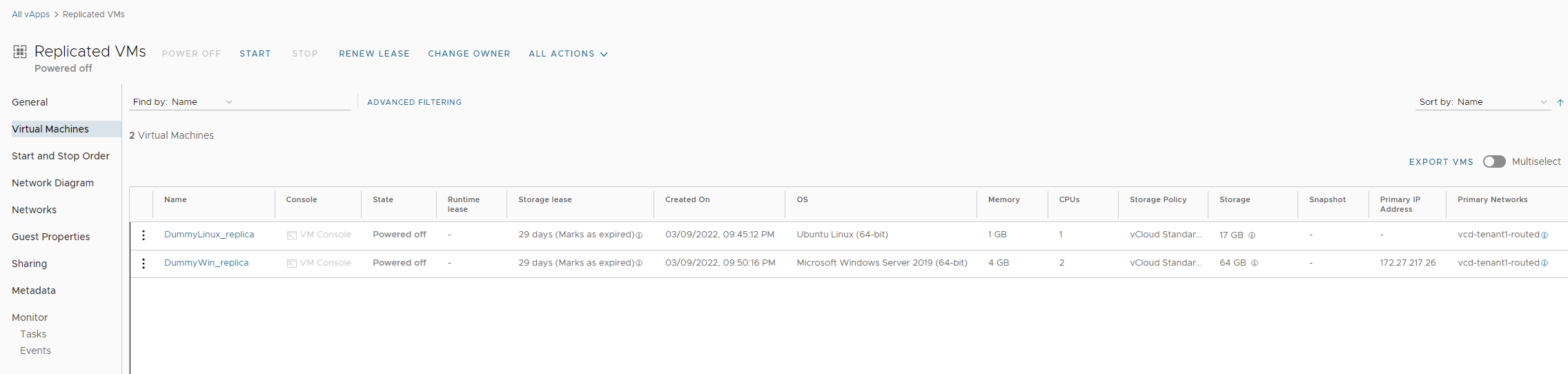 Virtual machines replicated to vCloud Director